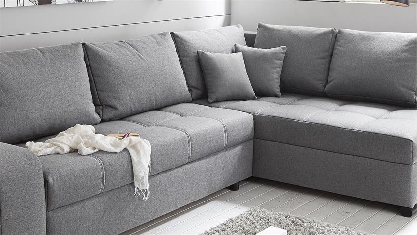 Ecksofa LUKAS Wohnlandschaft Sofa in grau mit Funktion
