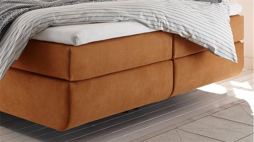 Boxspringbett MALIBUS in Stoff orange 7-Zonen-TTK inkl. Topper 180x200