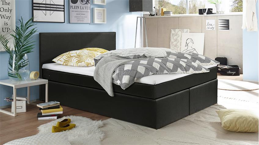 Boxspringbett SUNSHINES Bett in schwarz mit Topper 140x200