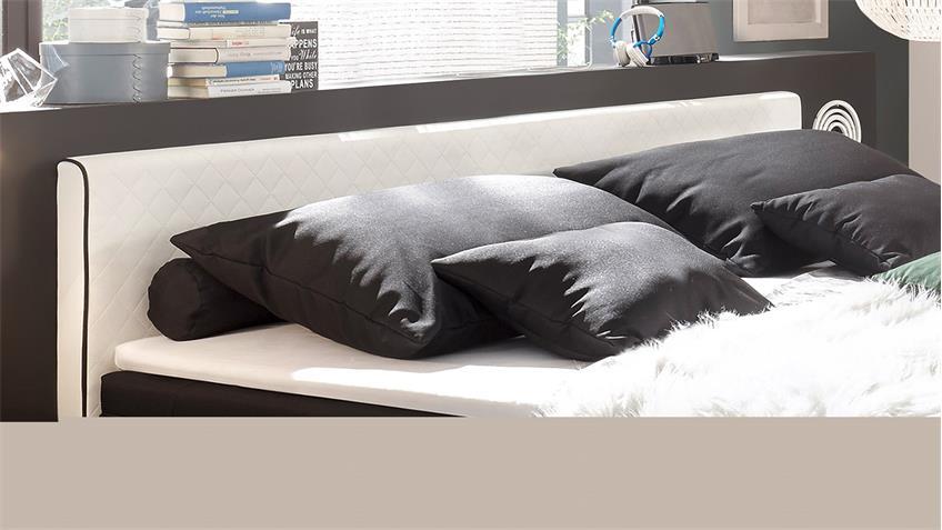 Boxspringbett EL PASO Bett weiß schwarz  mit Topper 180x200
