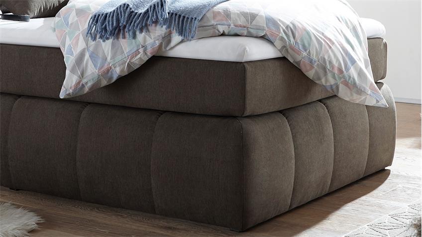Boxspringbett TOLEDOS Bett stone grau braun Topper 120x200