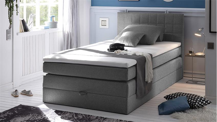 boxspringbett hawaii bett schlafzimmerbett grau topper 120. Black Bedroom Furniture Sets. Home Design Ideas