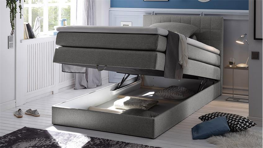 Boxspringbett HAWAII Bett Schlafzimmerbett grau Topper 120