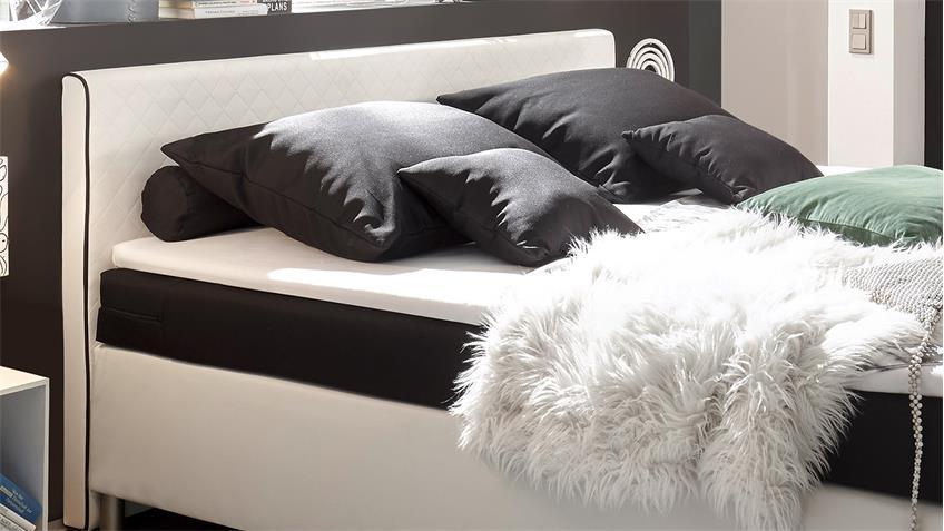 Boxspringbett EL PASO Bett weiß schwarz  mit Topper 140x200