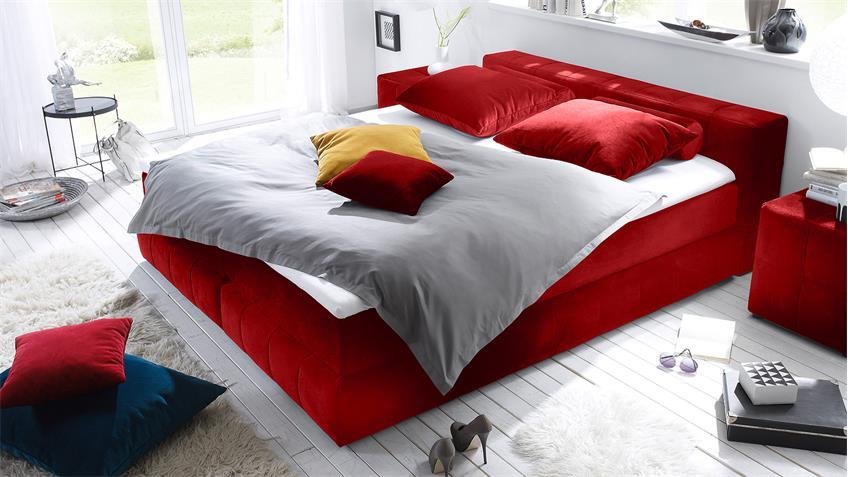 Boxspringbett LAS VEGAS Bett in rot  mit Topper 180x200