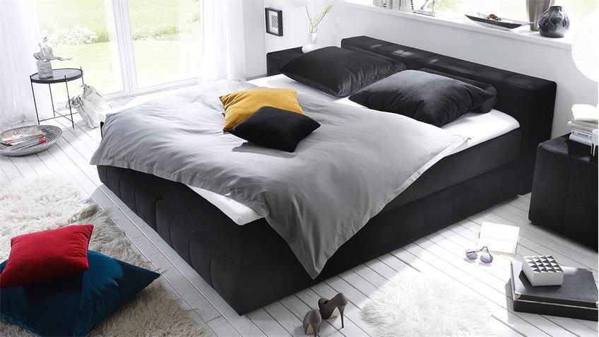Boxspringbett LAS VEGAS Bett in schwarz mit Topper 180x200