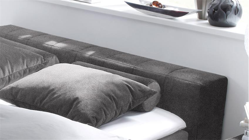 Boxspringbett LAS VEGAS Bett in grau mit Topper 180x200