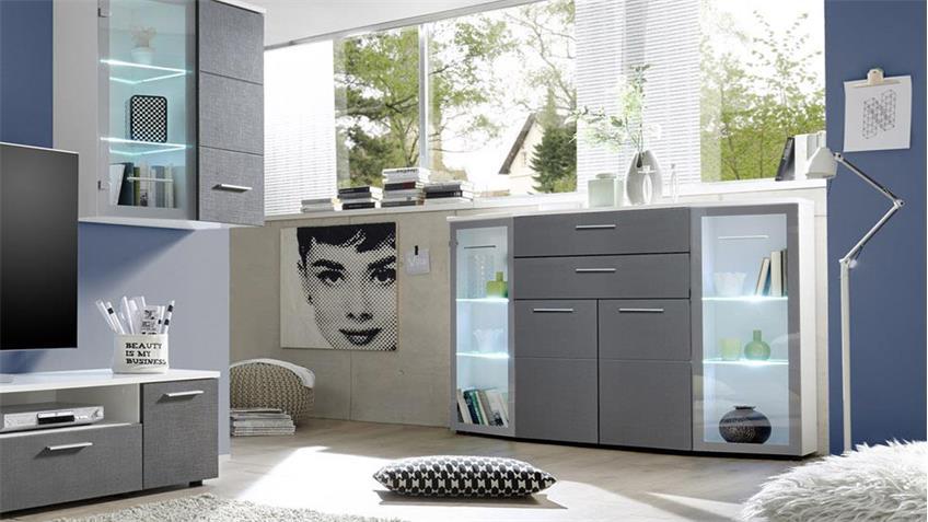 Wohnwand KICK in weiß grau Tiefzieh inkl. LED-Beleuchtung
