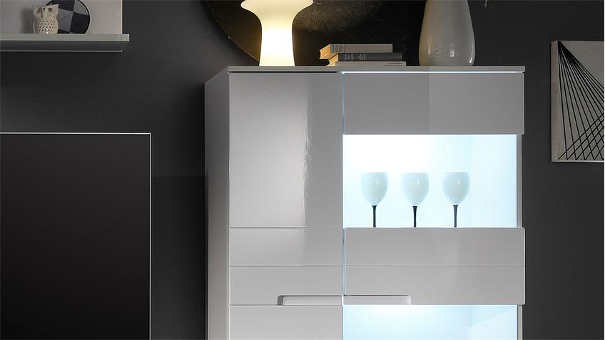 Wohnwand SEPIKS MDF weiß Hochglanz inkl. LED-Beleuchtung