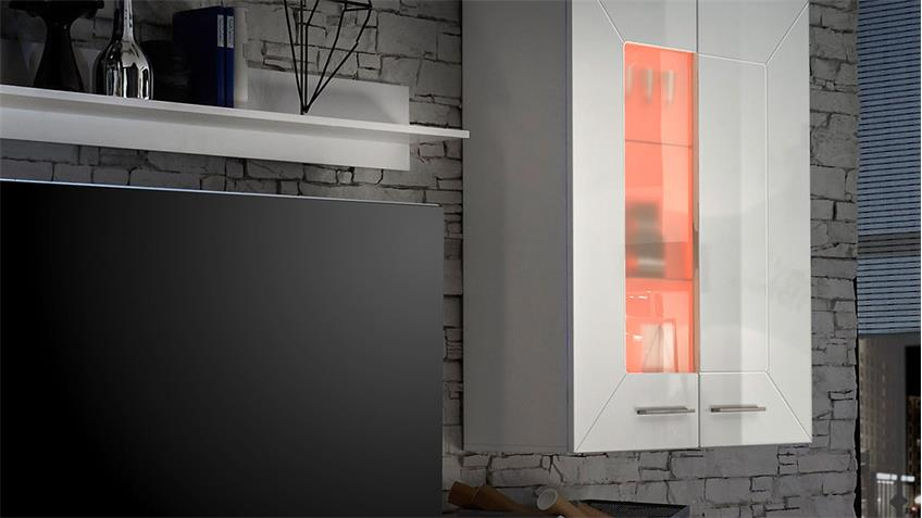 Wohnwand AXIT MDF weiß Hochglanz inkl. RGB-Beleuchtung