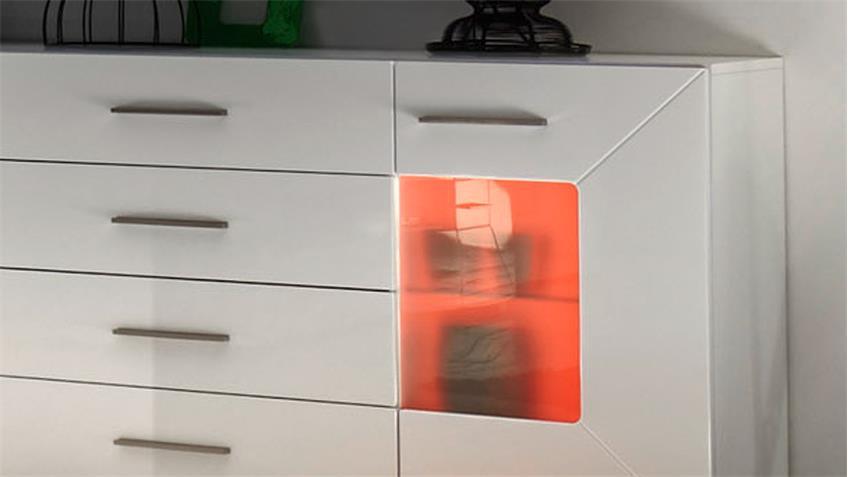 Sideboard AXIT MDF weiß Hochglanz inkl. RGB-Beleuchtung