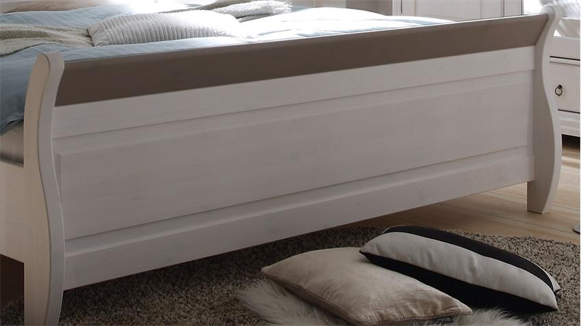 Bett OSLO in Kiefer massiv weiß und Lava 180x200 cm