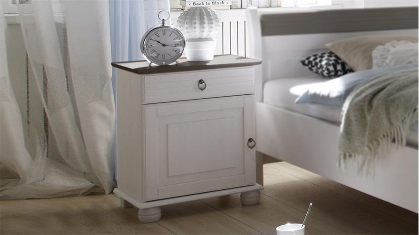 nachtkommode oslo in kiefer massiv wei und lava. Black Bedroom Furniture Sets. Home Design Ideas