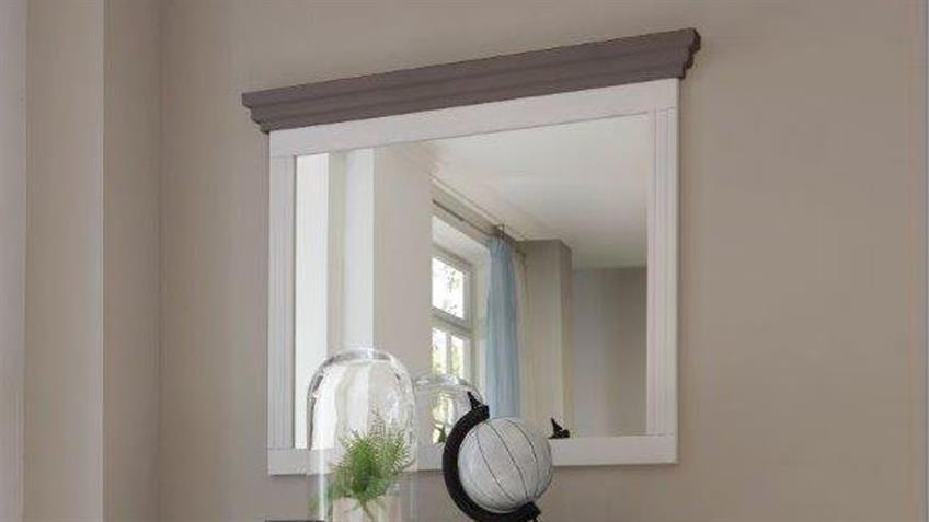 Wandspiegel OSLO Spiegel in Kiefer massiv weiß und Lava