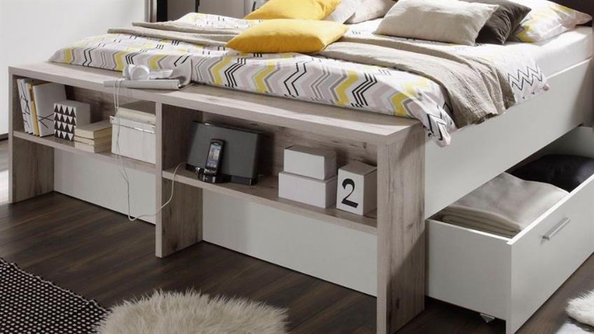 Schlafzimmer Set JULES in Sandeiche und weiß Bett 180x200