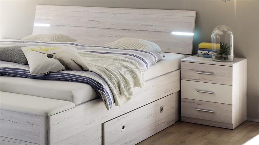bettanlage mars xl bett wei eiche mit led und bettkasten. Black Bedroom Furniture Sets. Home Design Ideas