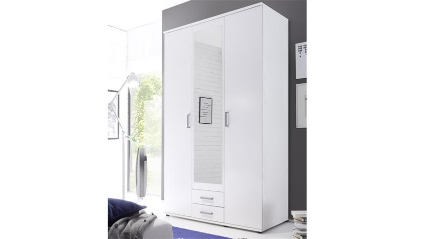Kleiderschrank USEDOM in weiß mit Spiegeltür