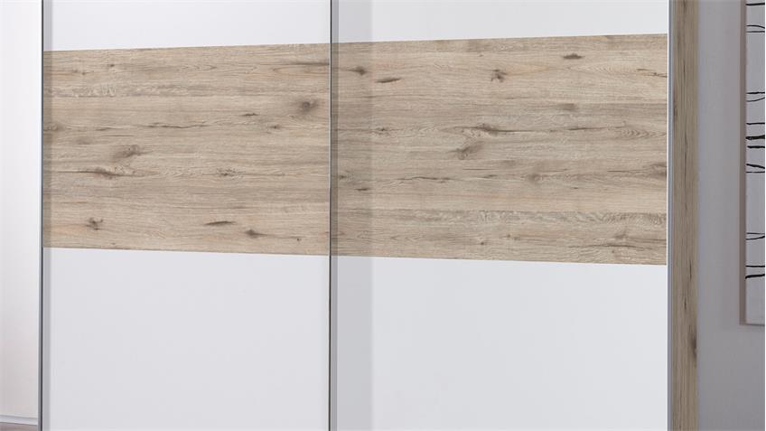 Schwebetürenschrank EMPIRES Schrank Sandeiche und weiß 215
