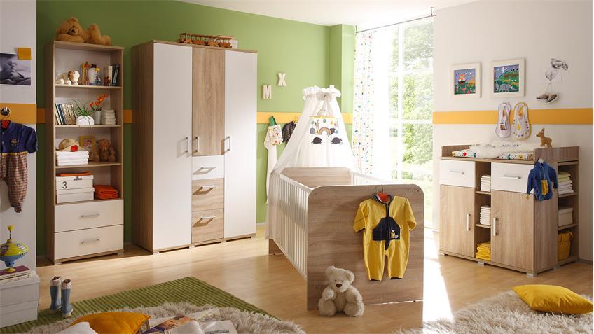Babybett CORNER Kinderbett in Sonoma Eiche und weiß 70x140