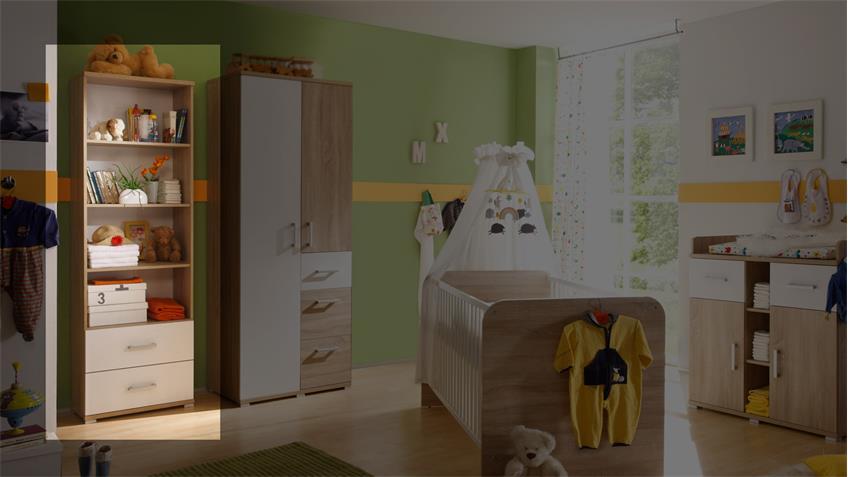 regal corner schrank regalschrank in sonoma eiche und wei. Black Bedroom Furniture Sets. Home Design Ideas