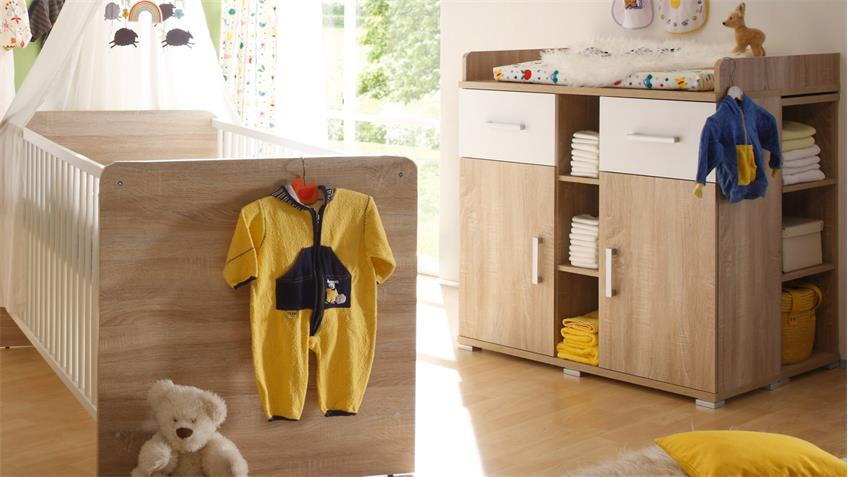 Babyzimmer 1 CORNER Kinderzimmer  Sonoma Eiche und weiß