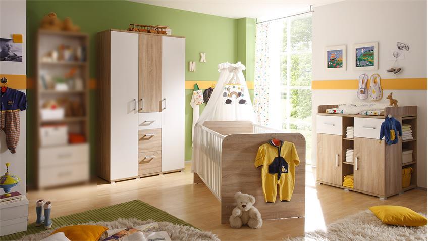 Babyzimmer 2 CORNER Kinderzimmer  Sonoma Eiche und weiß