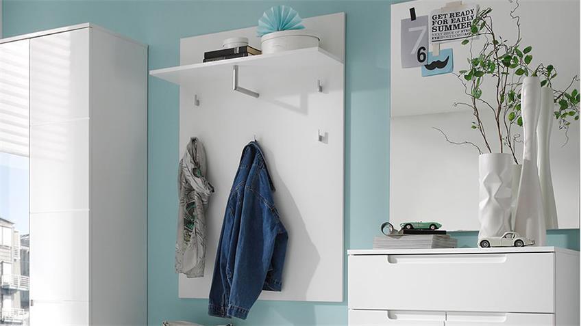 Garderobenpaneel SPICY Garderobe weiß Ablage 5 Haken