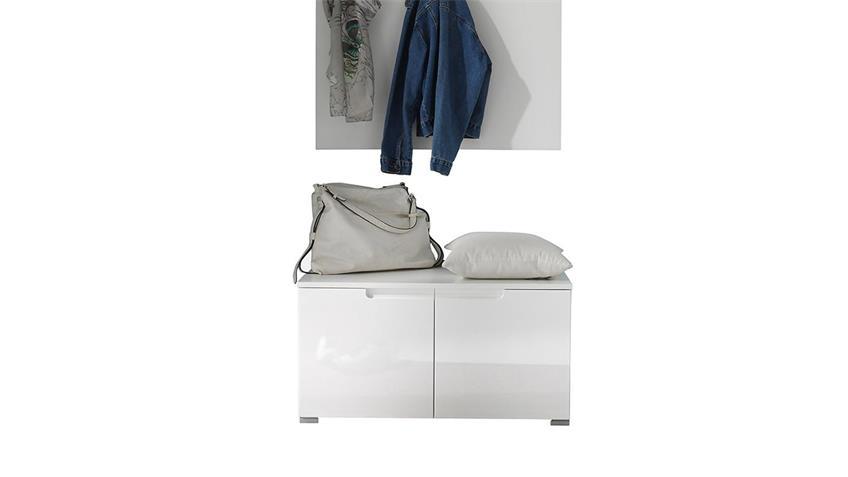 Garderoben Set SPICY 2-teilig weiß Hochglanz mit Paneel Bank