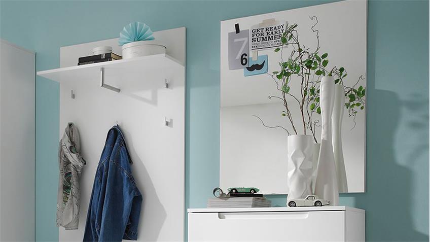 Garderoben Set SPICY 4-teilig weiß Hochglanz Diele Flur Spar
