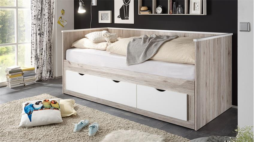 Kojenbett OSCAR Tandemliege Bett in Sandeiche weiß 90x200