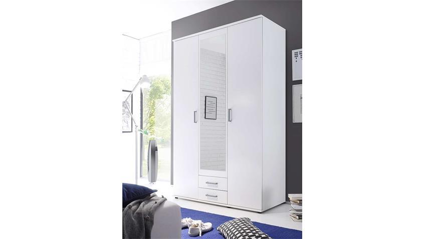 kleiderschrank karl schrank in wei mit spiegel 120 cm. Black Bedroom Furniture Sets. Home Design Ideas