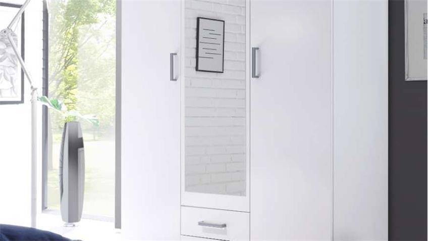Kleiderschrank KARL Schrank in weiß mit Spiegel 120 cm