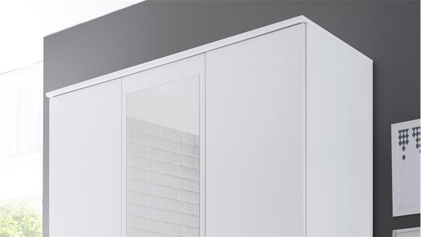 Kleiderschrank Karl weiß 3-türig mit Spiegel 120 cm