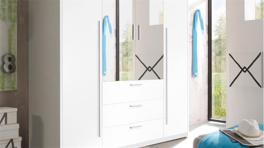 Kleiderschrank NEPTUN Schrank in weiß mit Spiegel 180 cm