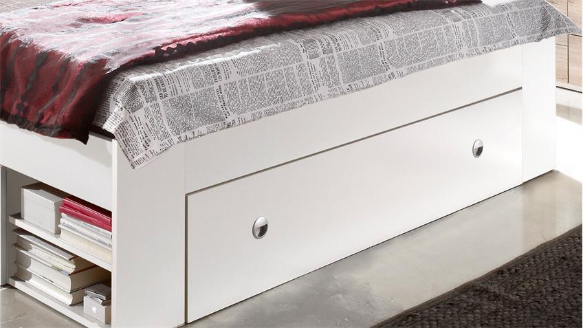 Funktionsbett STEFAN Bett Bettanlage Nako in weiß 140x200