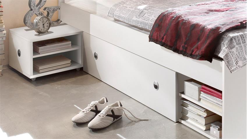 Bettanlage Stefan weiß mit Schubkästen und Nachtkommoden 140x200