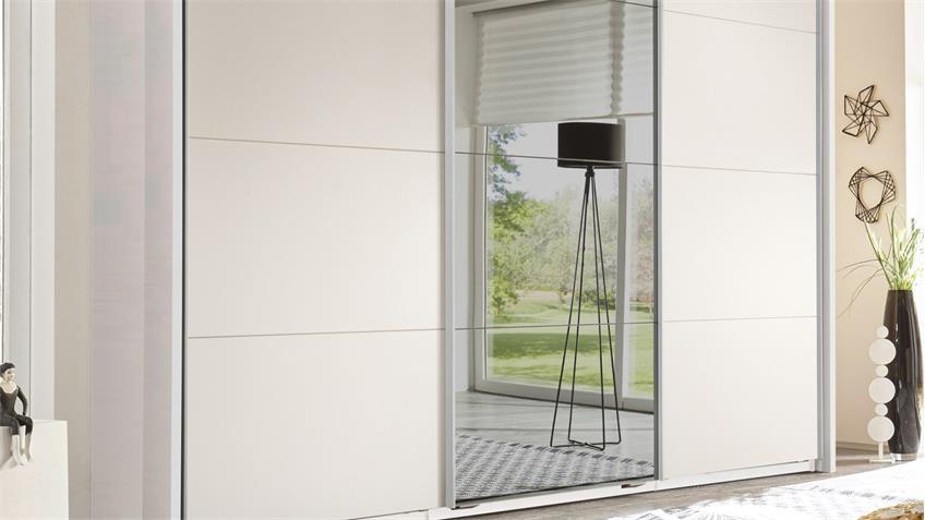 Schwebetürenschrank KUBUS Schrank in weiß mit Spiegel 270