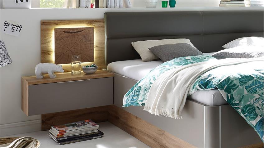 Schlafzimmer KAPRI Wildeiche basalgrau Hirnholz taupe LED