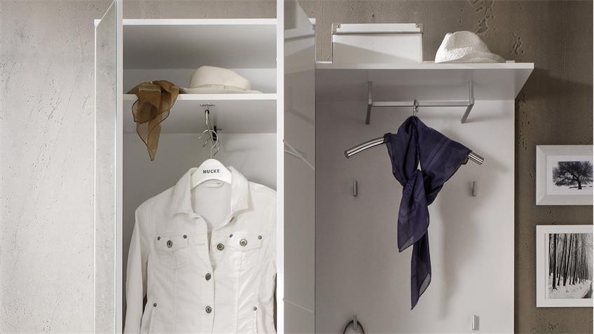 Kompaktgarderobe SPICY Set weiß Hochglanz Diele Garderobe
