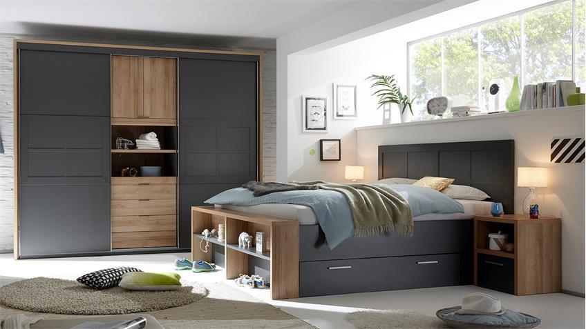 Schlafzimmer CATANIA Schrank Bett Nako Rivera Eiche Lava