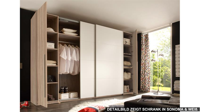 Schwebetürenschrank 315 cm in weiß mit Spiegel Match 2