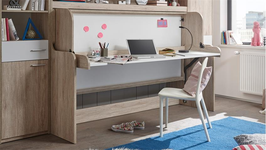 klappbett funktionsbett dakota schreibtisch schrank eiche san remo wei. Black Bedroom Furniture Sets. Home Design Ideas