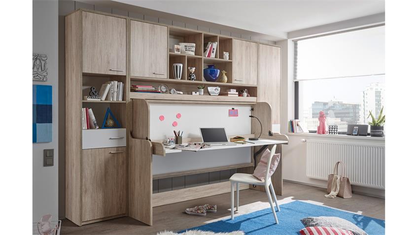 funktionsbett dakota klappbett schreibtisch eiche san remo. Black Bedroom Furniture Sets. Home Design Ideas
