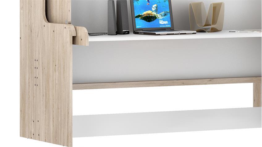 Klappbett DAKOTAS Schreibtisch Bett San Remo Eiche weiß