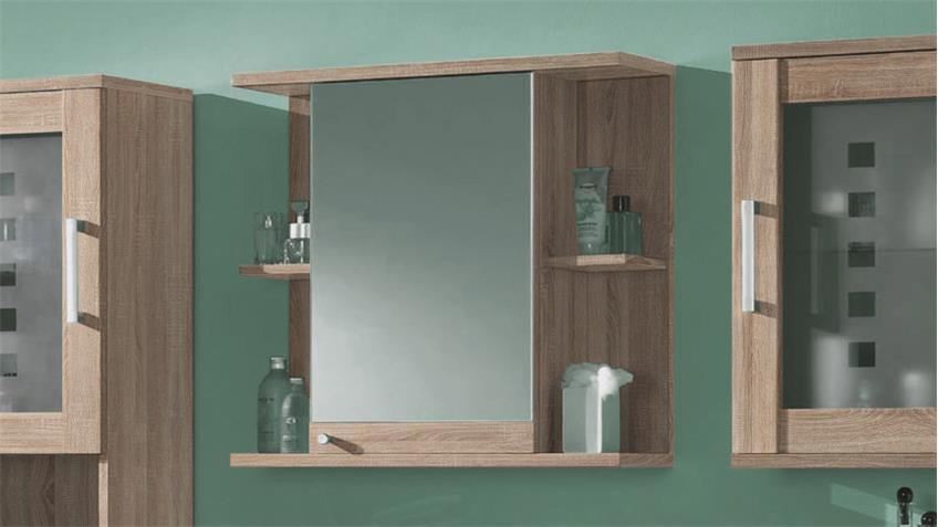 Spiegelschrank PONTOS Badezimmer Bad Schrank Spiegel Sonoma