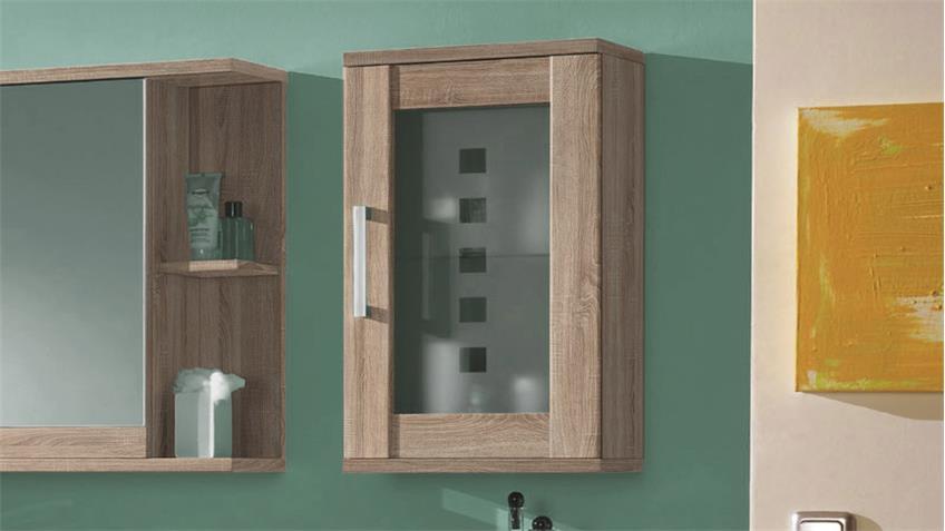 Hängeschrank PONTOS Badezimmer Bad Schrank Sonoma Glas