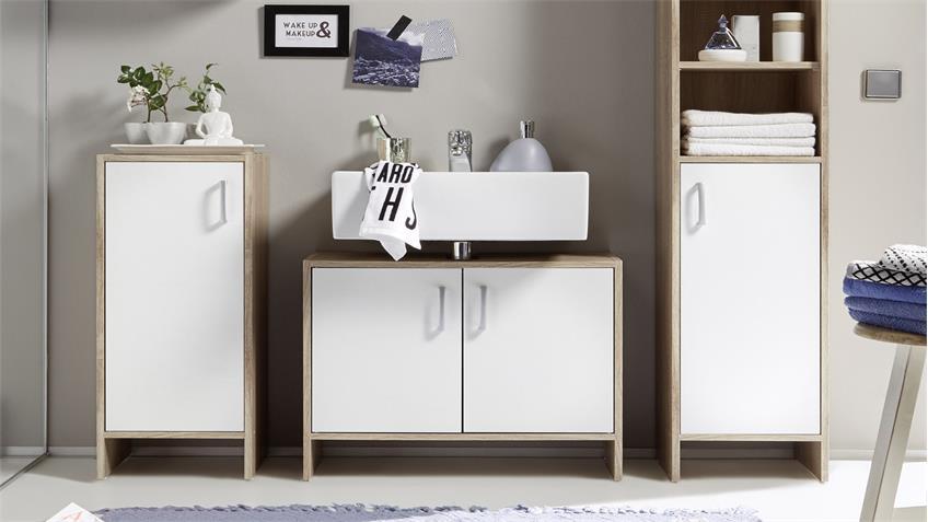 badezimmer set oslo 5 teilig badm bel in sonoma eiche wei. Black Bedroom Furniture Sets. Home Design Ideas