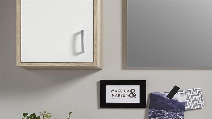 Badezimmer Set OSLO 5-teilig Badmöbel in Sonoma Eiche & weiß