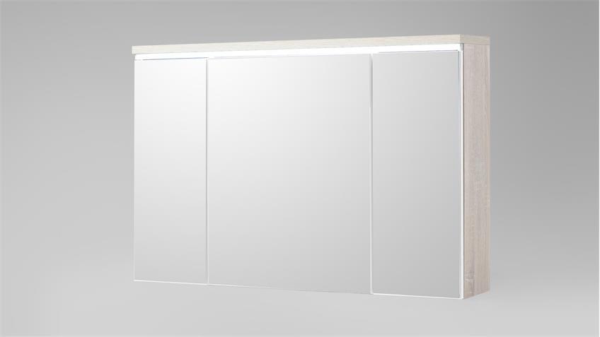 Spiegelschrank MIAMI in Sonoma Eiche mit LED für Badezimmer