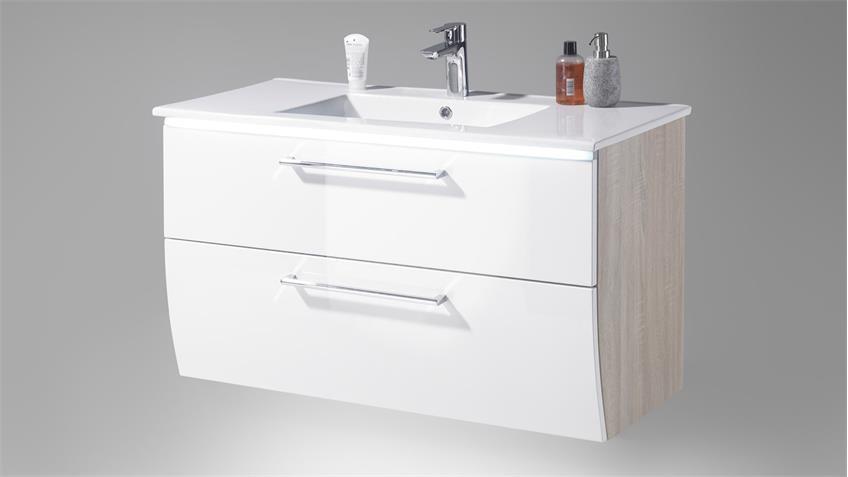 Waschbeckenschrank MIAMI inkl. Becken Eiche Hochglanz weiß LED